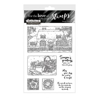 For the Love of Stamps - Snowy Cottage A6 Stamp Set
