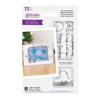"""Gemini - Stamp & Die - Peek-A-Boo Penguin (includes 11 pieces: largest die size 2.5"""" x 0.5"""")"""