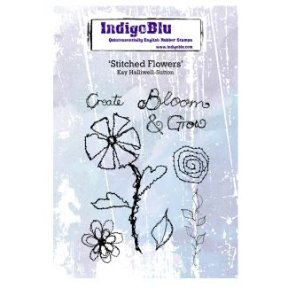 Stitched Flowers A6 Red Rubber Stamp by Kay Halliwell-Sutton