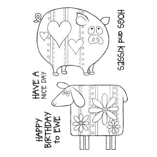 Woodware Clear Singles Ewe and Piggy