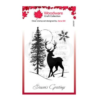 Woodware Festive Clear Stamp - Musical Deer