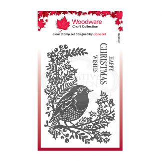Woodware Festive Clear Stamp - Lino cut - Robin and Holly