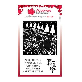 Woodware Festive Clear Stamp - Lino Cut - Chubby Robin