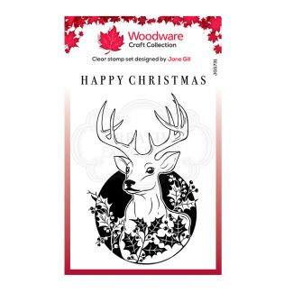 Woodware Festive Clear Stamp - Circle Deer