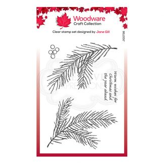 """Woodware Festive Clear Stamp - Sketchy Pine Branch (6"""" x 4"""")"""