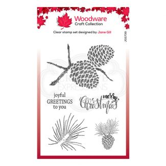 """Woodware Festive Clear Stamp - Sketchy Pine Cones (6"""" x 4"""")"""
