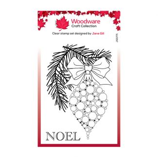 Woodware Festive Clear Stamp - Bubble Bauble and Pine Branch