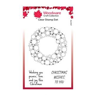 Woodware Festive Clear Stamp - Bubble Holiday Wreath