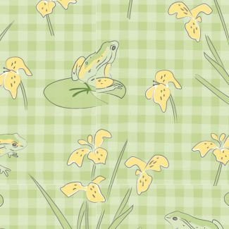 Lily Pad by Debbie Shore - Frogs on Gingham