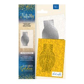 """Nature's Garden - Nativity - Cut & Emboss Folder 5"""" x 7""""- Christmas Angel"""