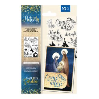 Nature's Garden - Nativity - Stamp - Come Let Us Adore Him