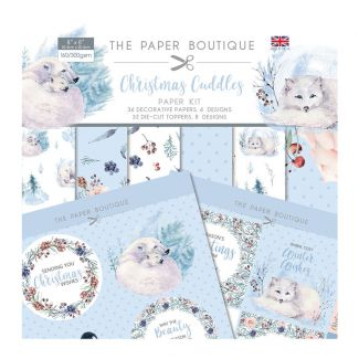 """The Paper Boutique Christmas Cuddles 8"""" x 8"""" Paper Kit (36 Decorative Papers, 6 designs, 32 Die-Cut Toppers, 8 designs)"""