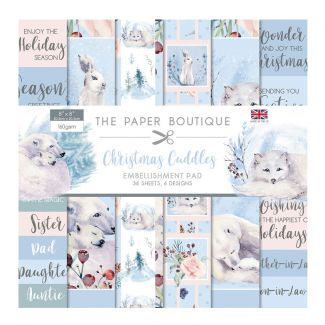 """The Paper Boutique Christmas Cuddles 8"""" x 8"""" Embellishments Pad (36 sheets, 6 designs)"""