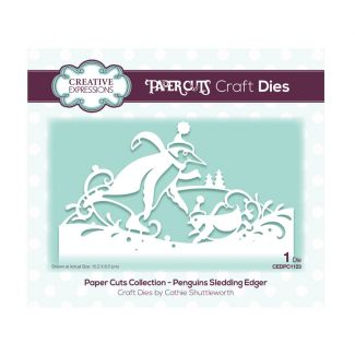Creative Expressions Paper Cuts Edger Penguins Sledding Craft Die (1 die size 15.2cm x 8.5cm)