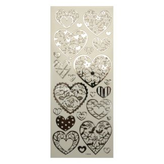 Peel-Offs - Hearts Silver