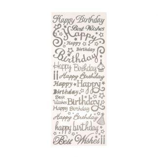 Peel-Offs - Happy Birthday - Silver