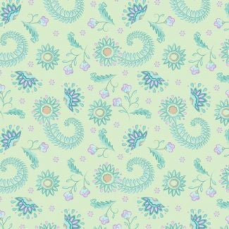 Sarah Payne - Elegant Peacock - Flowers on Lime (fat quarter)