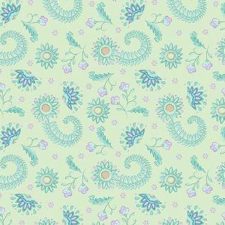 Sarah Payne - Elegant Peacock - Flowers on Lime (fat quarter)