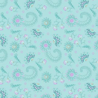 Sarah Payne - Elegant Peacock - Flowers on Mint (fat quarter)