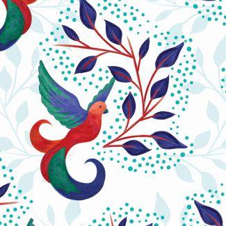 Sarah Payne - Birds of Paradise - Birds & Leaves White