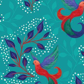 Sarah Payne - Birds of Paradise - Birds & Leaves Turquoise