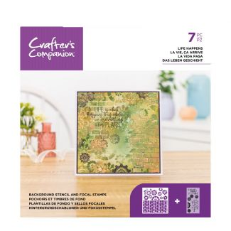 Background Stencil & Focal Stamps - Life Happens
