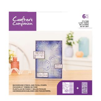 Background Stencil & Focal Stamps - It's Time