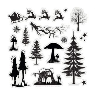 "Enchanted Christmas - 6"" x 6"" Acrylic Stamp Set - Fantasy Forest"