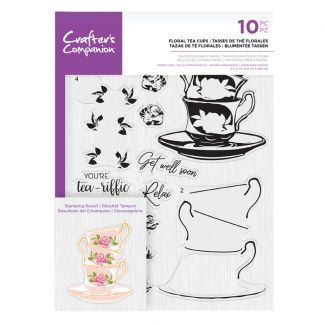 CC- Photopolymer Stamp - Floral Tea Cups