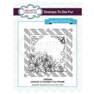 Denise's Poinsettia Frame Pre Cut Stamp