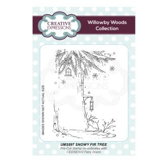 Snowy Fir Tree A6 Pre Cut Rubber Stamp