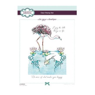 Designer Boutique Collection - Flamingo Oasis A5 Clear Stamp