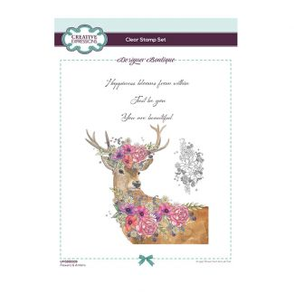 Designer Boutique Collection - Flowers & Antlers A5 Clear Stamp