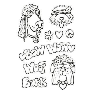 Creative Expressions Designer Boutique Collection Hippie Dogs A5 Clear Stamp