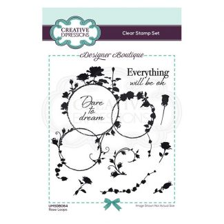 Creative Expressions Designer Boutique Collection Rose Loops A6 Clear Stamp Set