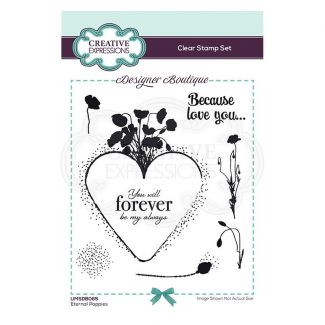 Creative Expressions Designer Boutique Collection Eternal Poppies A6 Clear Stamp Set