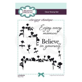Creative Expressions Designer Boutique Collection Rose Trail A6 Clear Stamp Set