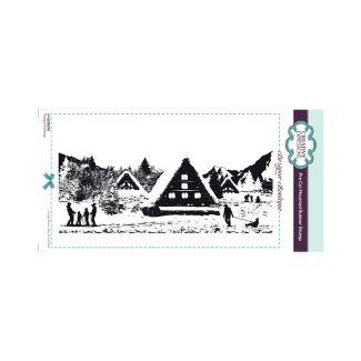 Designer Boutique Happy Holidays DL Pre Cut Rubber Stamp