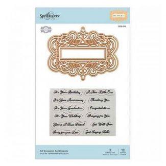 Spellbinders Flourished Fretwork All Occasion Sentiments Stamp & Die Set