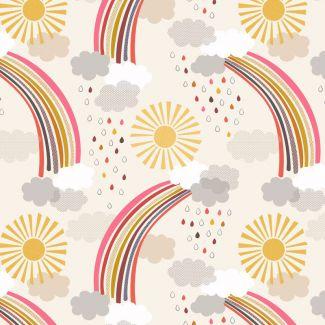 Lewis & Irene - Rainbows - Calming Rainbows on cream - Fat Quarter