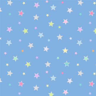Lewis & Irene - Rainbows - Pastel stars with silver metallic - Fat Quarter