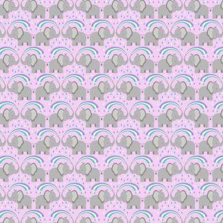 Lewis & Irene - Rainbows - Rainbow elephants on light lilac - Fat Quarter
