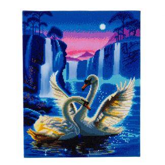 Framed LED Crystal Art Kit 40cm x 50cm - Moonlight Swans