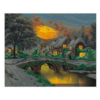 Framed LED Crystal Art Kit 40cm x 50cm - Cobblestone Christmas - Thomas Kinkade