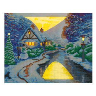Framed LED Crystal Art Kit 40cm x 50cm - Christmas Evening - Thomas Kinkade