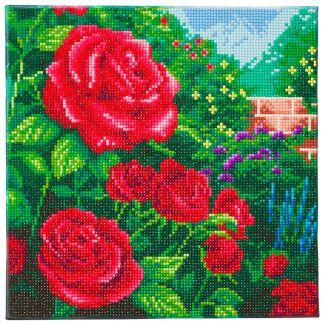 Framed Crystal Art Kit 30cm x 30cm - Perfect Red Rose - Thomas Kinkade