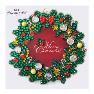 Crystal Art Motif Kit - Christmas Wreath 9cm x 9cm