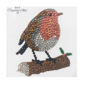Crystal Art Motif Kit - Winter Robin 9cm x 9cm