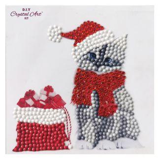 Crystal Art Motif Kit - Christmas Cat 12cm x 12cm