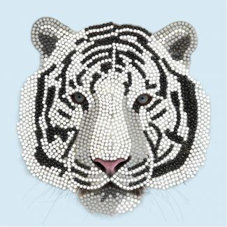 Crystal Art Card Kit - White Tiger Head